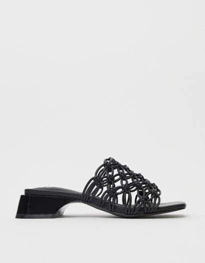 E8 by Miista Leinani clear woven mules in black / square toe mule