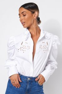 The Fashion Bible ELISE WHITE PUFF SLEEVE SHIRT | embroidery cut-out blouse