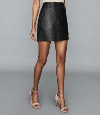 REISS ELIZA LEATHER MINI SKIRT BLACK – classic skirts – wardrobe essentials