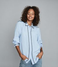 REISS ELLA TIPPED LONG SLEEVED SHIRT BLUE / piped edge shirts