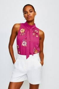 KAREN MILLEN Embellished Tie Neck Top / pink sequinned sleeveless tops
