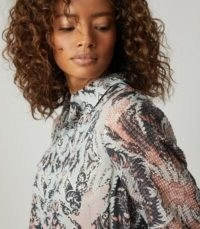 REISS EMMY PAISLEY PRINTED SHIRT GREY ~ bold prints