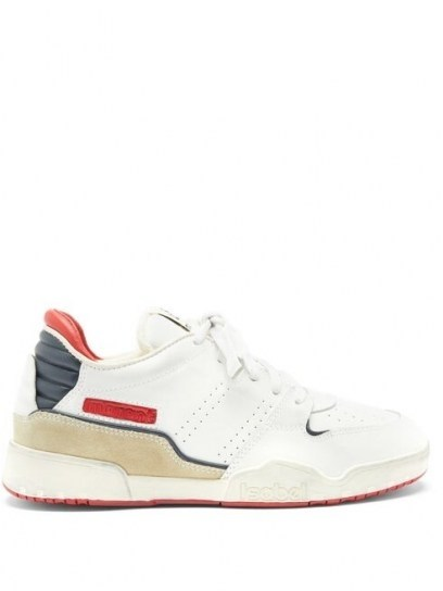 ISABEL MARANT Emree leather trainers | red, white and blue sneakers - flipped