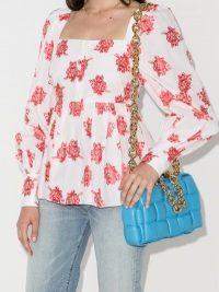 Erdem Noria Fil Coupé Top / rose prints / peplum hem blouse / square neckline