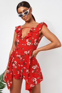 The Fashion Bible ERIN RED FLORAL BARDOT PLAYSUIT | side overlay playsuits