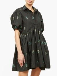 CECILIE BAHNSEN Esther Hawthorn floral poplin shirt dress ~ voluminous LBD