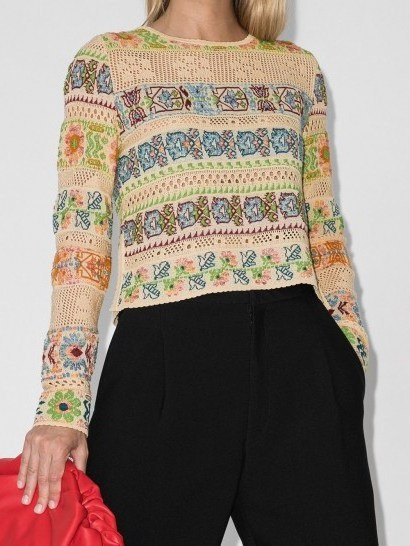 Etro cropped open-knit jumper / knitted flower patterns - flipped