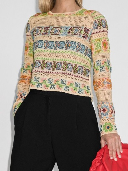 Etro cropped open-knit jumper / knitted flower patterns