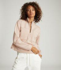 REISS ETTA ZIP NECK SWEATSHIRT BLUSH / casual luxe tops