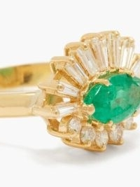 SHAY Evil Eye diamond, emerald & 18kt gold ring ~ green gemstone rings