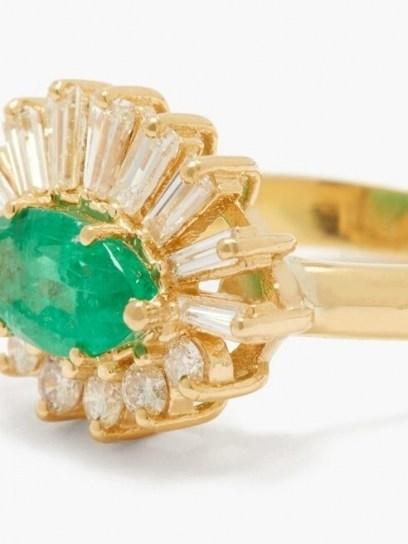 SHAY Evil Eye diamond, emerald & 18kt gold ring ~ green gemstone rings - flipped