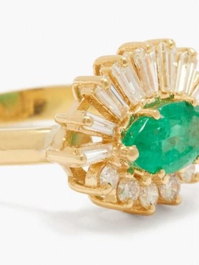 SHAY Evil Eye diamond, emerald & 18kt gold ring ~ green gemstone rings