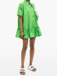ELZINGA Exaggerated-collar poplin mini dress in green ~ ruffle hem dresses