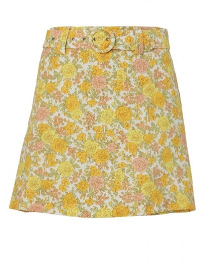 Dakota Fanning yellow floral skirt on Instagram, FAITHFULL THE BRAND Celia Belted Floral Linen Skort, 13 July 2020 | celebrity social media fashion / skirts - flipped
