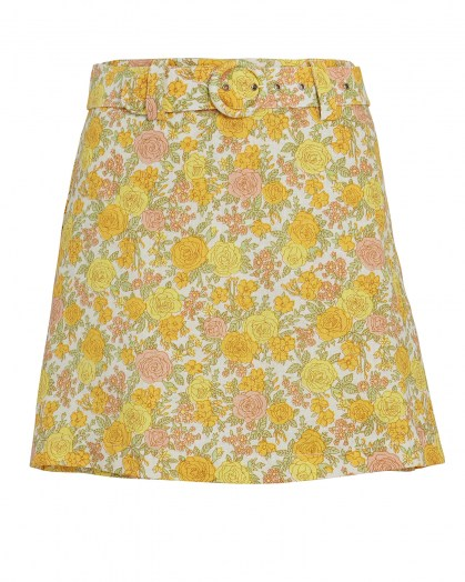 Dakota Fanning yellow floral skirt on Instagram, FAITHFULL THE BRAND Celia Belted Floral Linen Skort, 13 July 2020 | celebrity social media fashion / skirts