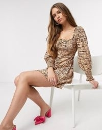 Faithfull The Brand ira animal print mini dress in wyldie animal ~ square neck balloon-sleeve dresses