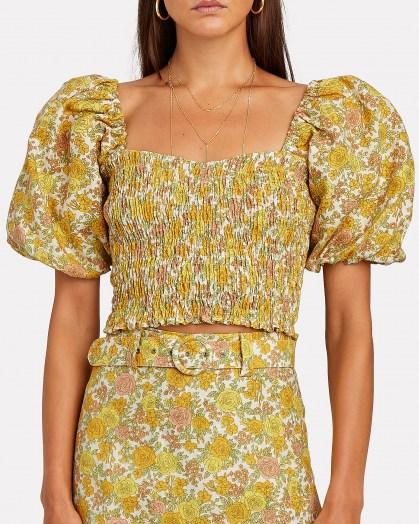 Dakota Fanning yellow puff sleeve top, FAITHFULL THE BRAND Robina Smocked Floral Crop Top, on Instagram, 13 July 2020   celebrity social media fashion