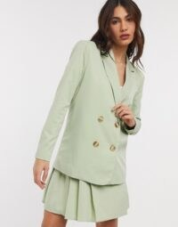 Fashion Union Dad Blazer Co-ord Soft Grass ~ pale green pleated skirt suits ~ double breasted blazers