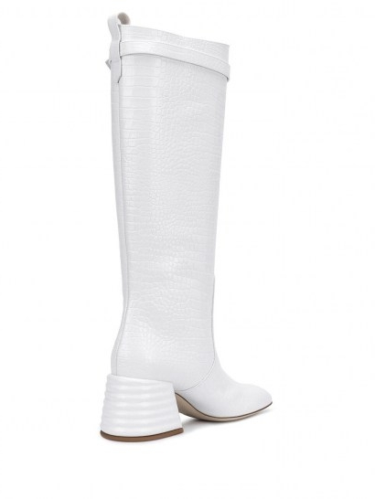 Fendi crocodile-effect knee-high 75mm boots / white leather chunky heeled boot