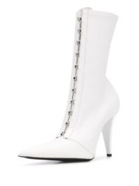 FENTY Corset 105mm pointed-toe boots / white-leather hook and eye fastening boot