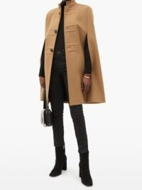 SAINT LAURENT Flared brushed-wool cape ~ camel capes ~ chic cape coats