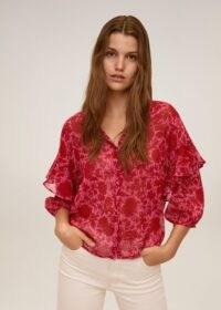 MANGO OTTO Floral print blouse Fuchsia / tiered sleeve blouses