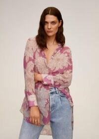 MANGO TUKU Floral print shirt / large flower prints / curved hem shirts