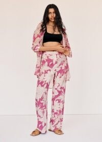 MANGO WINO Floral print trousers / pink summer pants