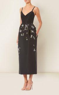 Carolina Herrera Floral-Embroidered Silk-Faille Dress / lbd