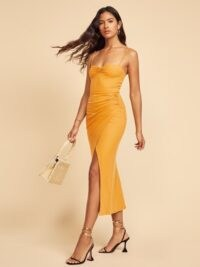 Reformation Formosa Dress Ochre ~ skinny strap event dresses ~ wrap style eveningwear