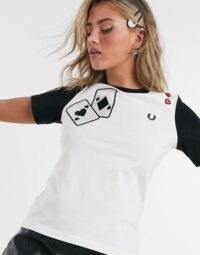 Fred Perry x Amy Winehouse ringer t-shirt with patches in white / monochrome tee