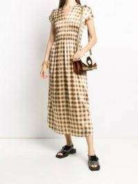 GANNI checkered satin short-sleeve dress / shirred bodice dresses