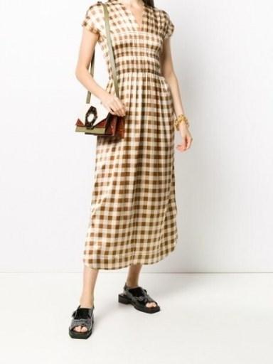 GANNI checkered satin short-sleeve dress / shirred bodice dresses - flipped