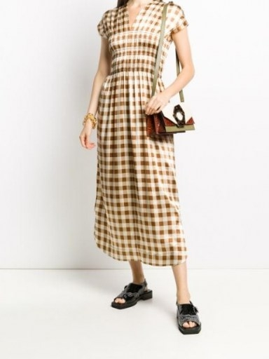 GANNI checkered satin short-sleeve dress / shirred bodice dresses