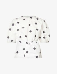 GANNI Polka dot-print recycled-polyester top ~ voluminous sleeved tops