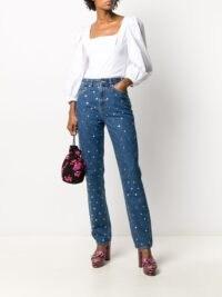 GANNI straight-leg studded denim jeans ~ stud embellished jeans