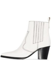 GANNI Western 60mm croc-effect ankle boots ~ white-leather cuban heel western boot
