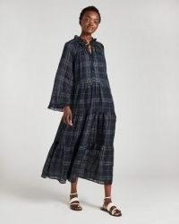 JIGSAW GAUZE CHECK TIERED MAXI DRESS / floaty ruffle trim dresses