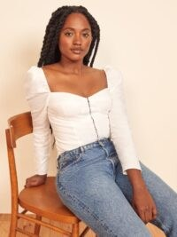 Reformation Gemma Top | white fitted bodice tops