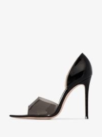 Gianvito Rossi Black 115 Plexi Peep Toe Pumps / pointed open-toe stiletto heeled courts