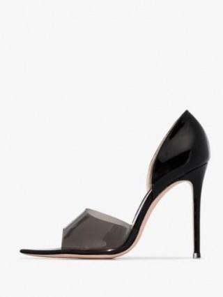 Gianvito Rossi Black 115 Plexi Peep Toe Pumps / pointed open-toe stiletto heeled courts