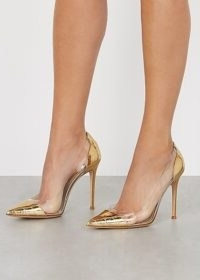 GIANVITO ROSSI 105 gold leather and Perspex pumps / luxury court shoes / glamorous occasion courts