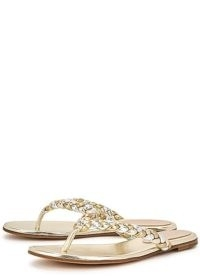 GIANVITO ROSSI Tropea metallic leather sandals / luxe silver and gold thonged sandal