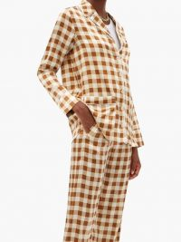 GANNI Gingham silk-blend satin shirt / pyjama look shirts
