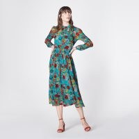 L.K. BENNETT GISH PEONY PRINT TIE NECK SILK DRESS / long sleeve floral dresses