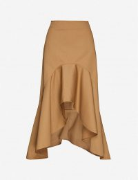 GIVENCHY Ruffle-trimmed high-waisted cotton-twill midi skirt ~ ruffled edge hemlines