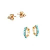 MISSOMA gold evil eye and turquoise earring set / huggie earrings / jewellery stacking sets