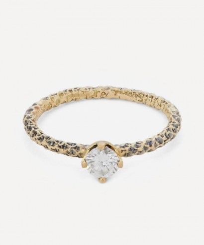 SATOMI KAWAKITA Gold Homespun Diamond Solitaire Ring / textured narrow band rings