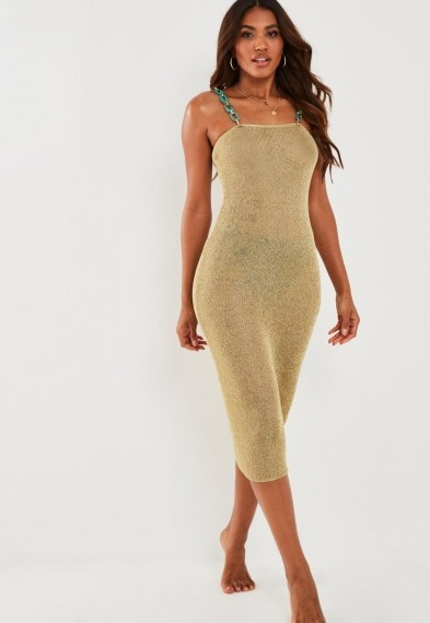 Missguided gold metallic turquoise chain midi dress ~ evening glamour