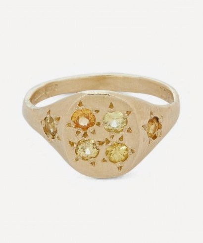 SEB BROWN Gold Neapolitan Yellow Multi-Stone Signet Ring - flipped